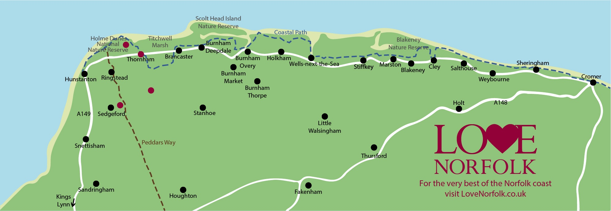Norfolk Coast Map